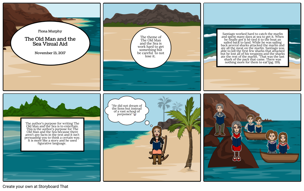 Old Man And His Dream Png - The Old Man and the Sea Visual Aid Storyboard by littlekitty24