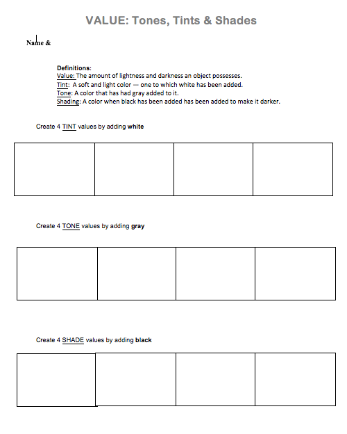 Shading Worksheet Png - The smARTteacher Resource: Value: Tones, Tints & Shades