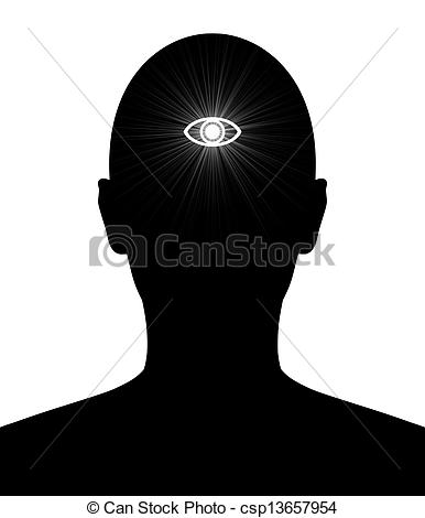 Third Eye Clipart - Third eye of knowledge. Illustrated silhouette of a person with ...