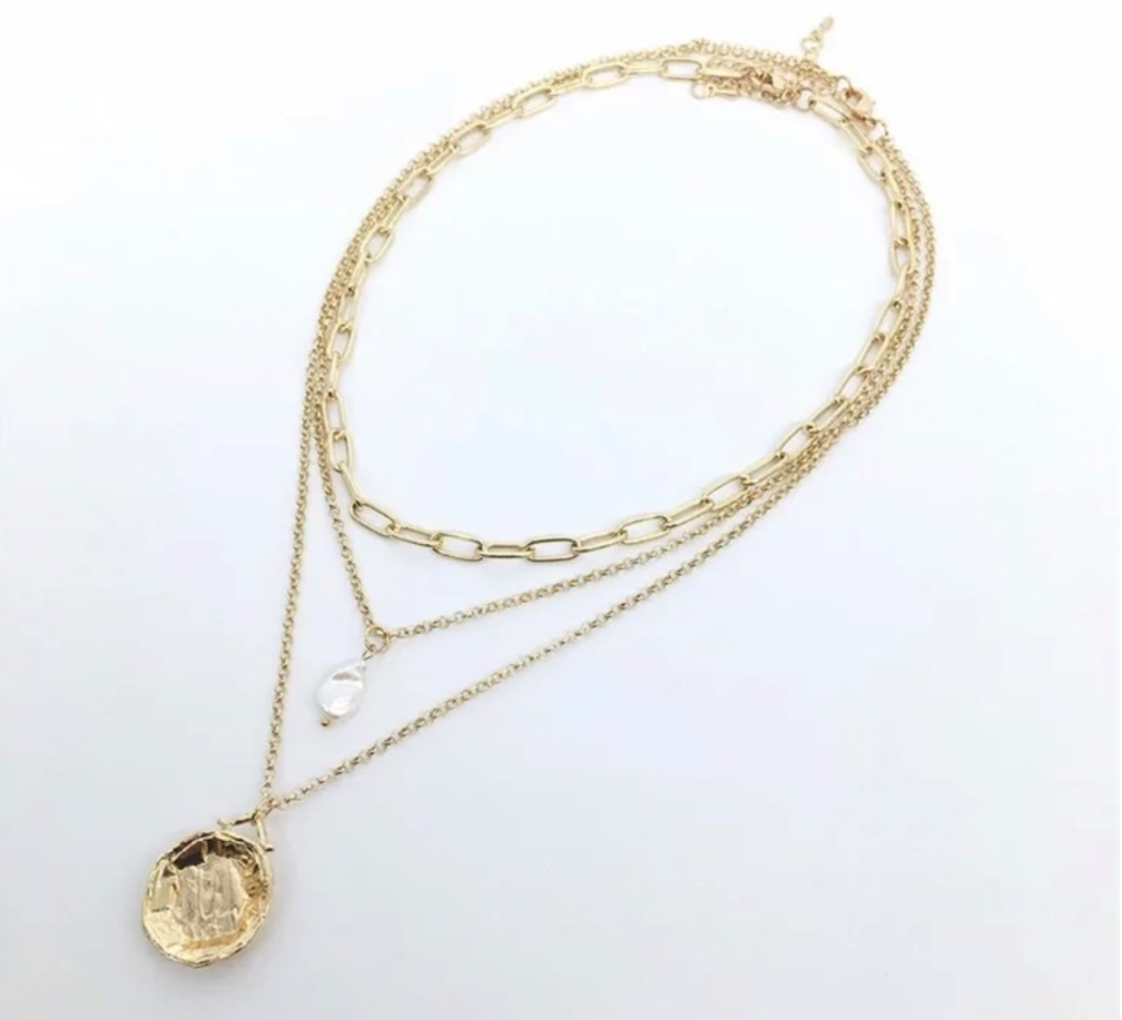 Golden Coin Necklace Png - Three Layered Necklace with Gold Coin Pendant | Hollywood Sensation®