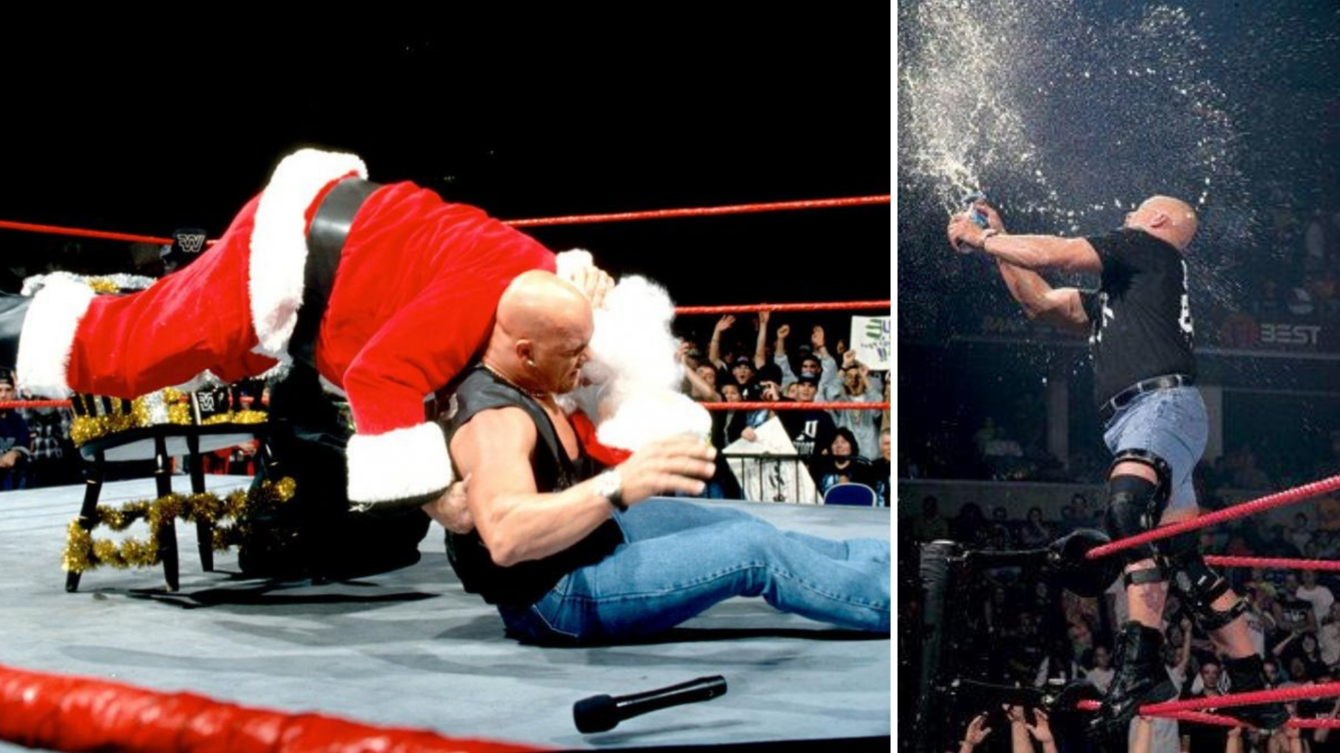 Santa Claus Wrestling Png - Throwback To When Stone Cold Steve Austin Hit The Stunner On Santa ...