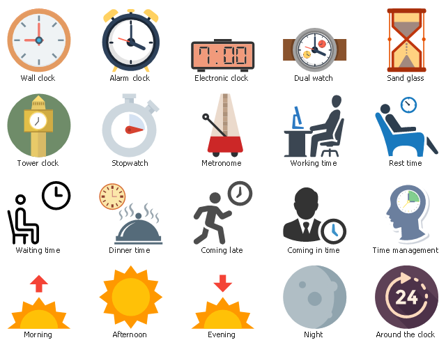 Png Morning Time - Time - Vector stencils library | Time and clock pictograms ...