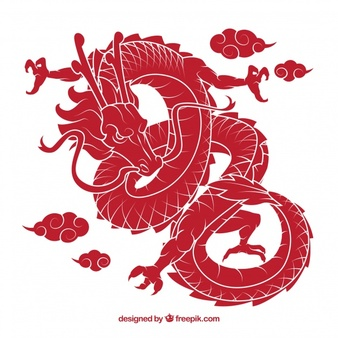 Oriental Dragon Png - Traditional chinese dragon with silhouette design