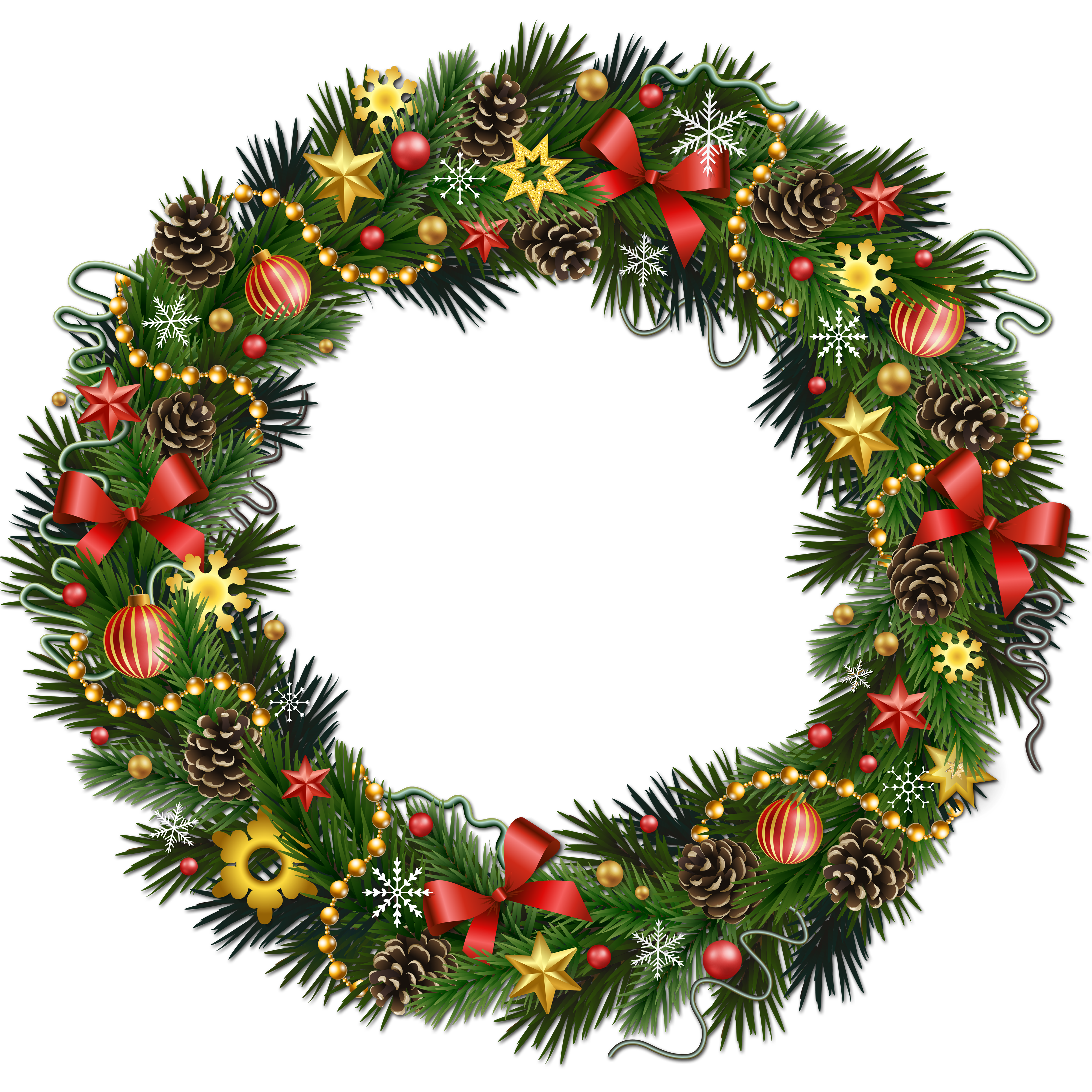 Transparent Christmas Wreath - Transparent Christmas Pinecone Wreath with Ornaments Clipart ...