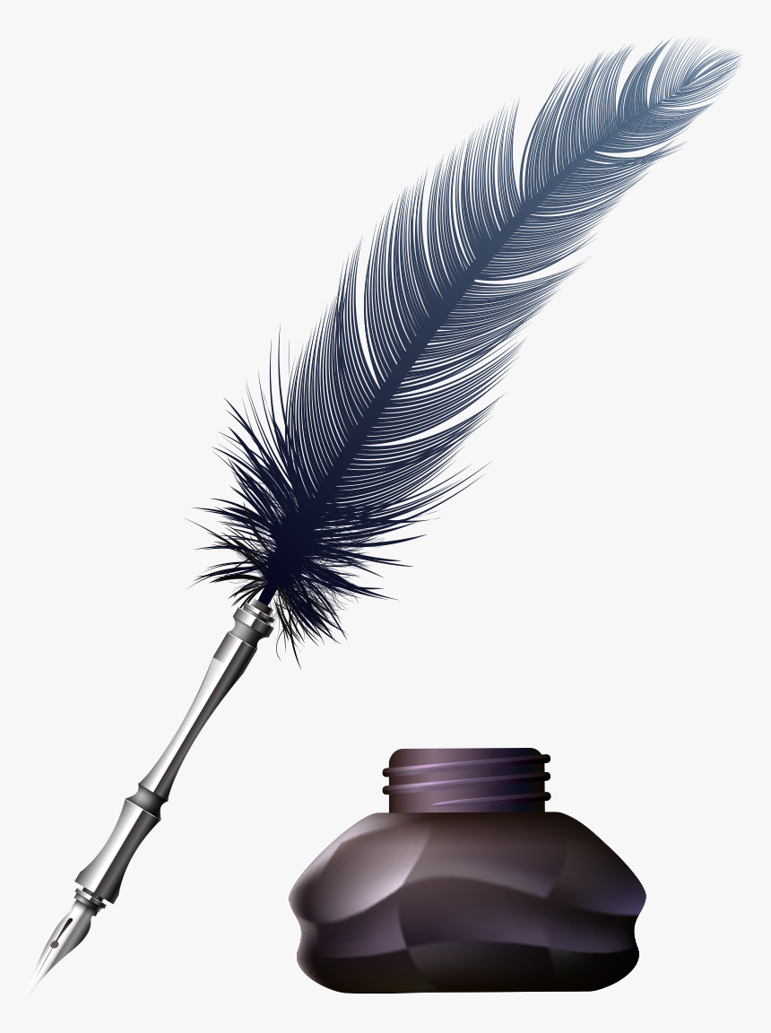 Inkwell Quill, Quill and Ink Pot, white feather pen on black ink bottle,  school Clipart, pen, feather png   PNGWing