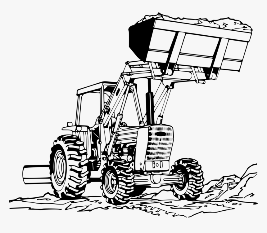 Tractor Drawing Png - Transparent John Deer Tractor Clipart - Front End Loader Drawing ...