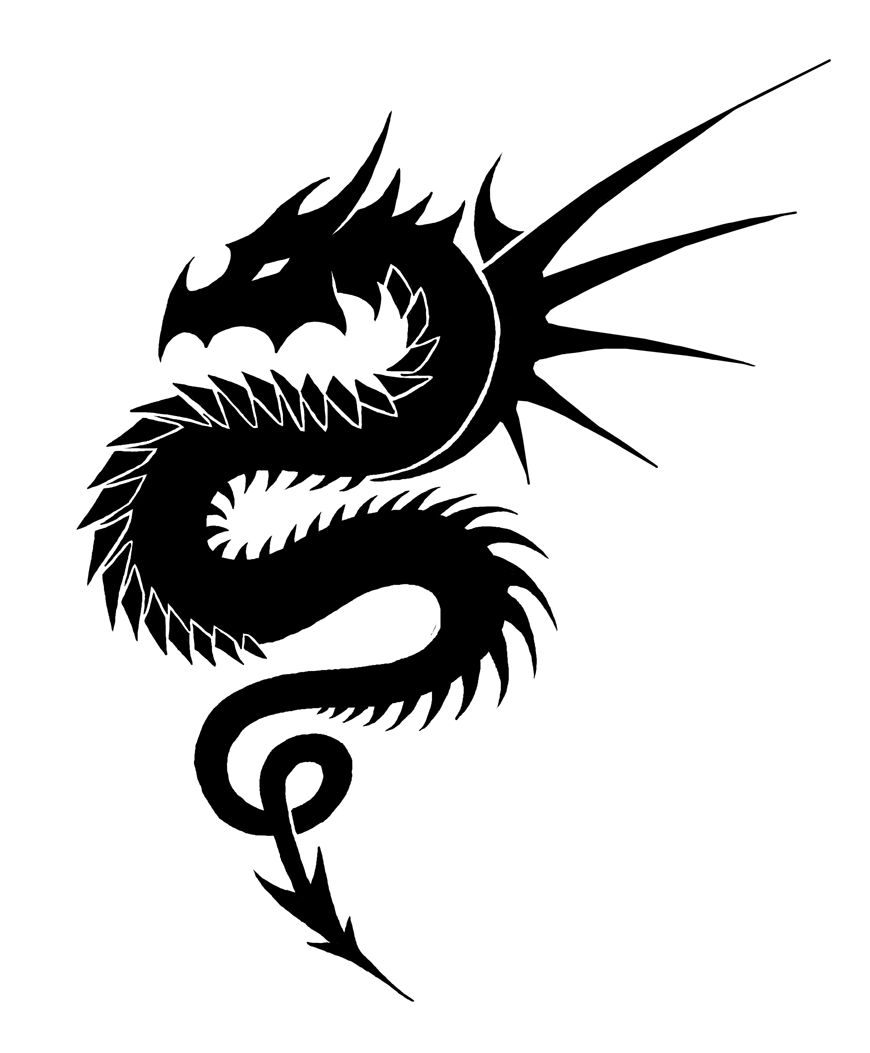 b753fef1e Simple Dragon Png - Tribal Dragon -Black and white by Zeila on Clipart  library