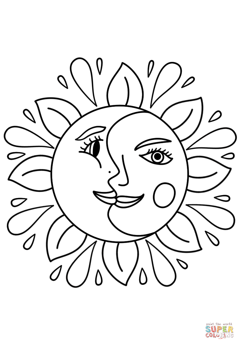 - Trippy Sun And Moon Coloring Page Free #1778317 - PNG Images - PNGio