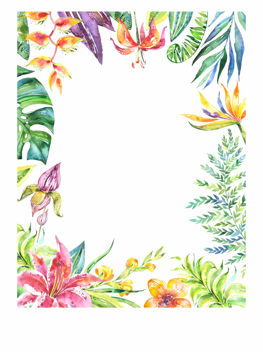 Tropical Background Png - Tropical Flower Border Png - Painted Watercolor Flower Watercolor ...