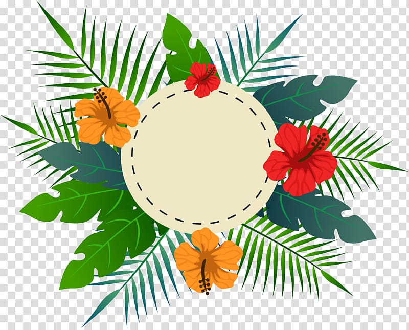 Tropical Background Png - Tropical flower leaves the title box, orange and red flowers ...