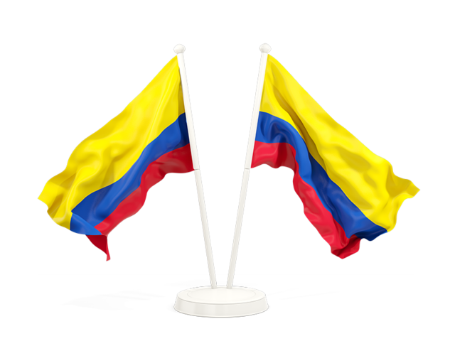 Flag Of Colombia Png - Two waving flags. Illustration of flag of Colombia