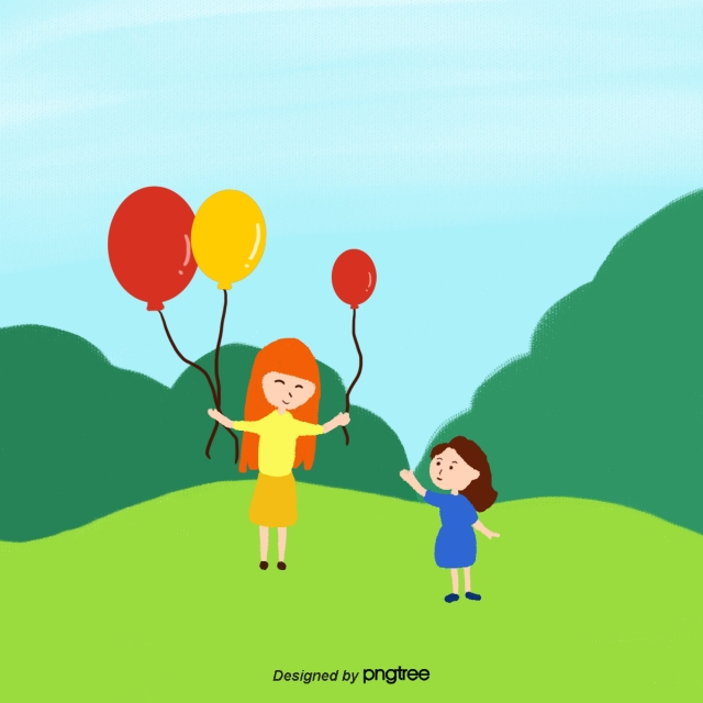 Orange Png Of People At A Park - Two Women In The Park With Balloons I Orange Yellow, Orange ...