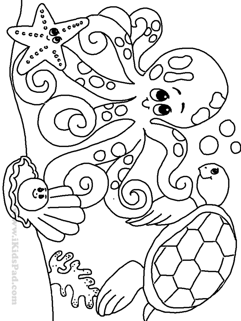 Fish Under the Sea Coloring Pages   Ocean coloring pages, Sea ...   1024x768