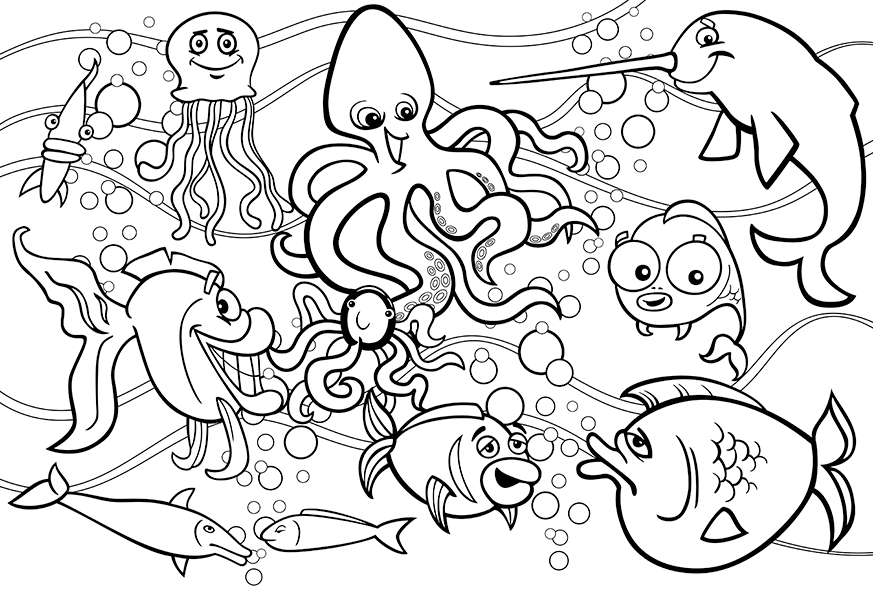 - Underwater Sea Life Coloring Pages #2295250 - PNG Images - PNGio