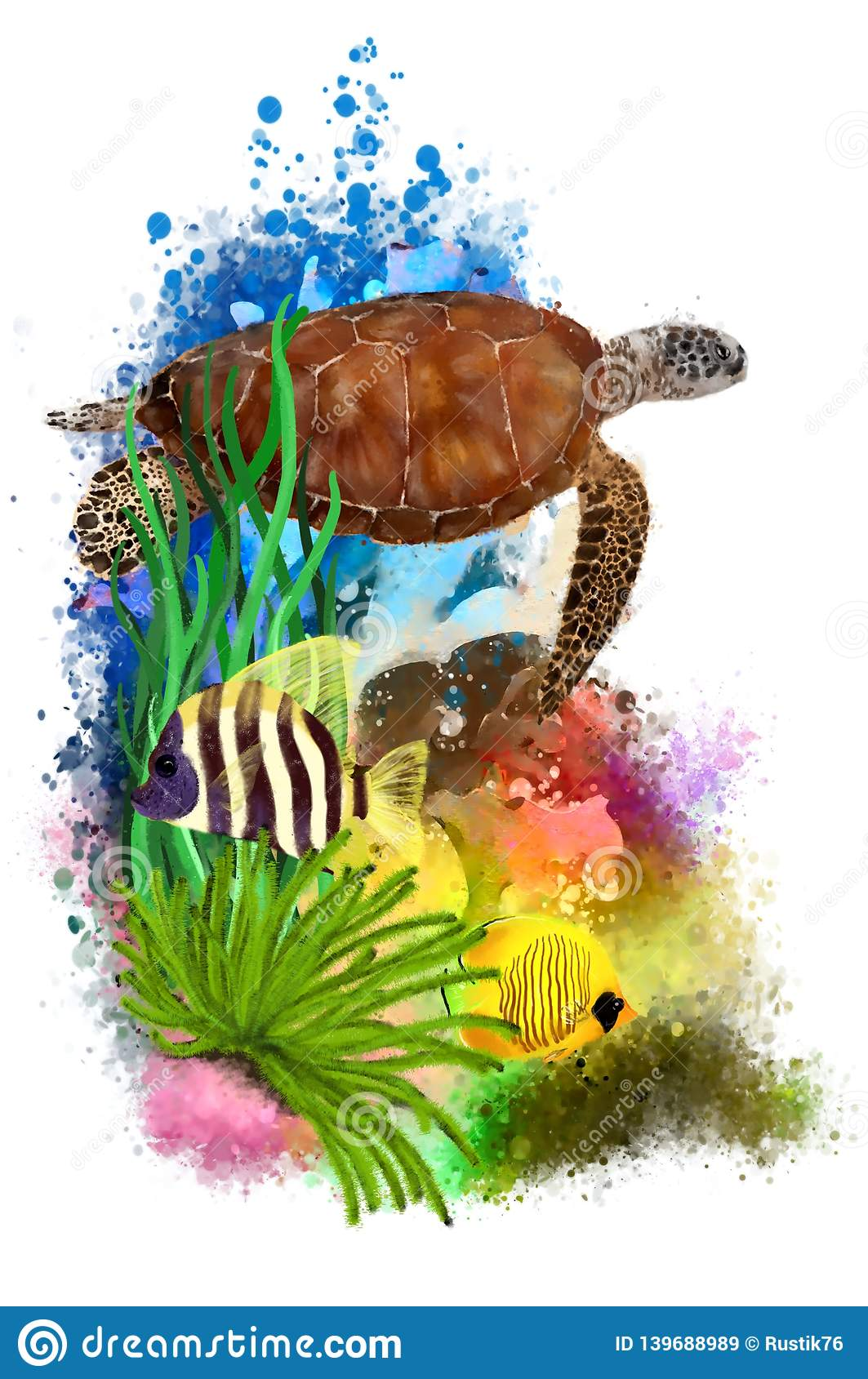 Tropical Fish Watercolor Png - Underwater Tropical World With A Turtle And Fish On An Abstract ...