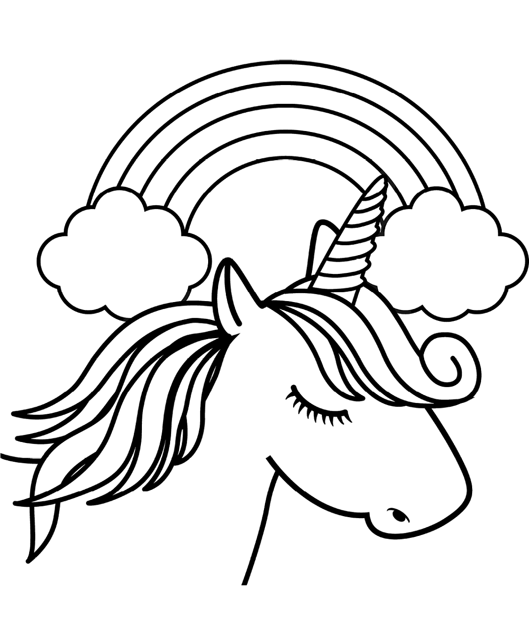 - Unicorn And Rainbow Coloring Pages #2149296 - PNG Images - PNGio