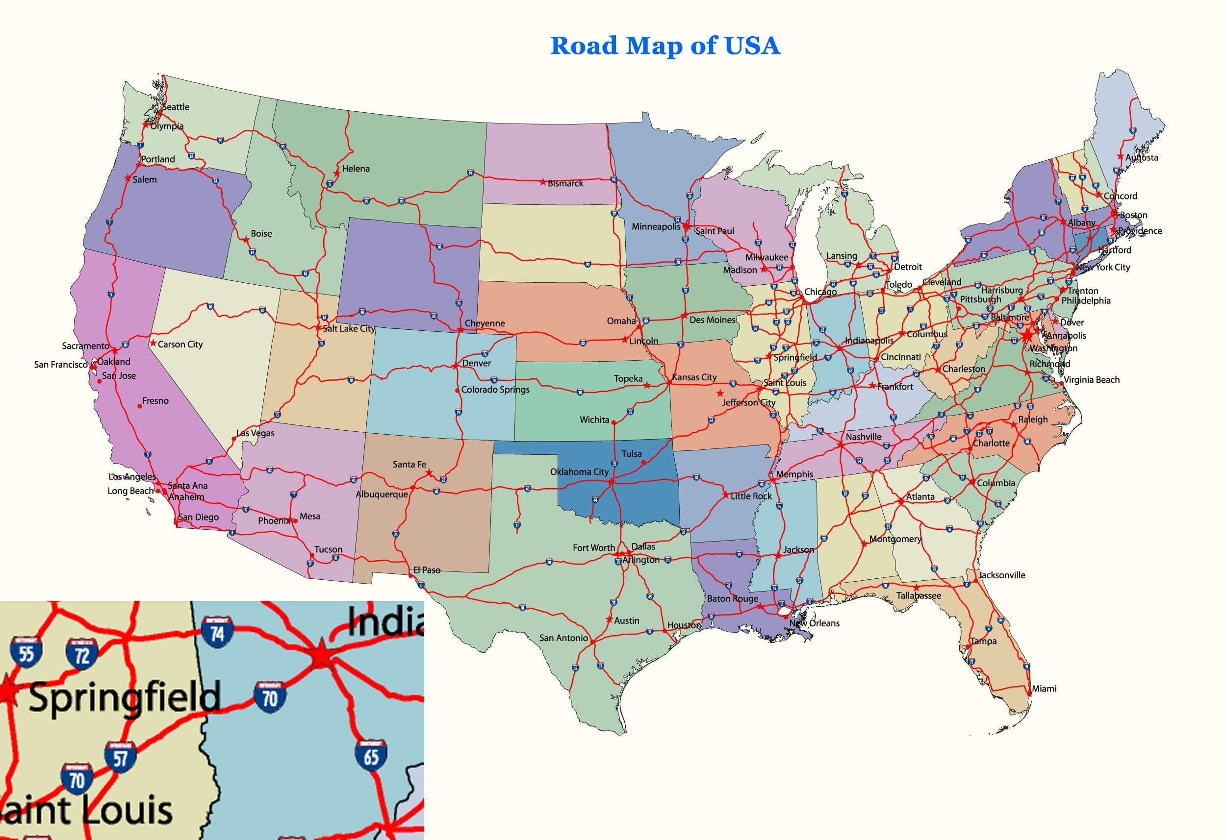 Picture of: Us Map With Interstate Of Major Intersta 408218 Png Images Pngio
