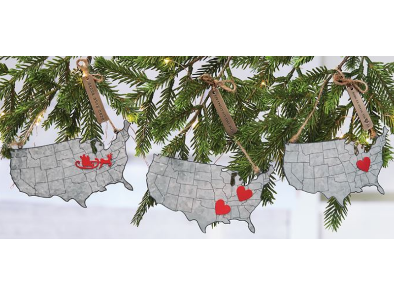 Evergreen Branch Cookie Cutter Png - USA Map Tin Ornament - The Royal Rooster