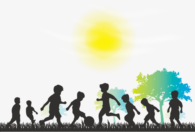 Childhood Png - vector happy childhood silhouette, Silhouettes Of Children, Football, Trees  PNG and Vector