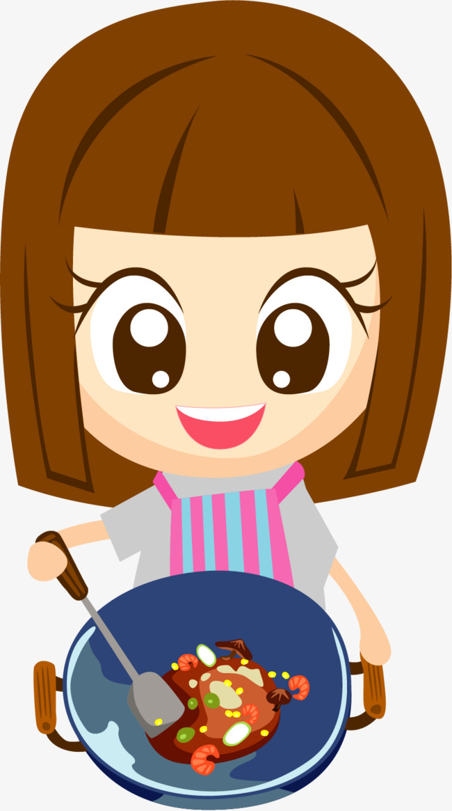 Cooking Png - vector painted cooking girl, Girl Vector, Vector, Hand Painted PNG and  Vector
