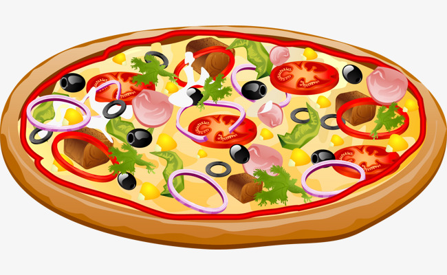 Pizza Vector Png - Vector Painted Pizza, Pizza Vector, Vector, Hand Painted PNG and ...