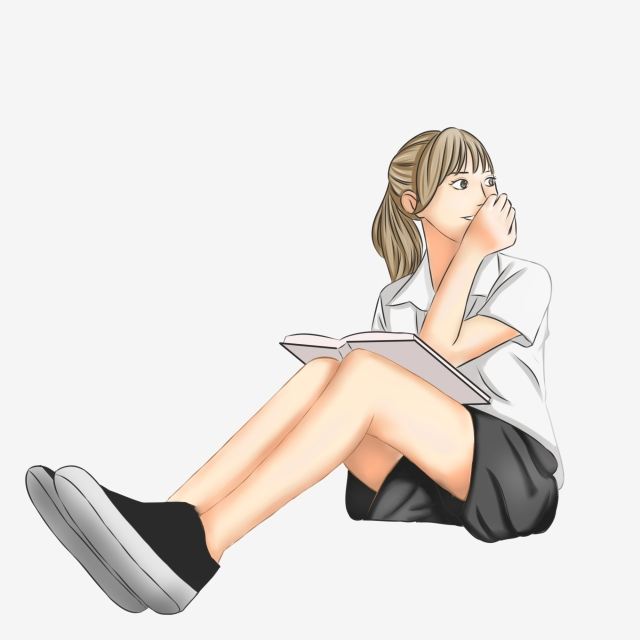 Girl Reading A Book Png - Vector Simple Sitting Girl Reading The Book, Girl Vector, Book ...