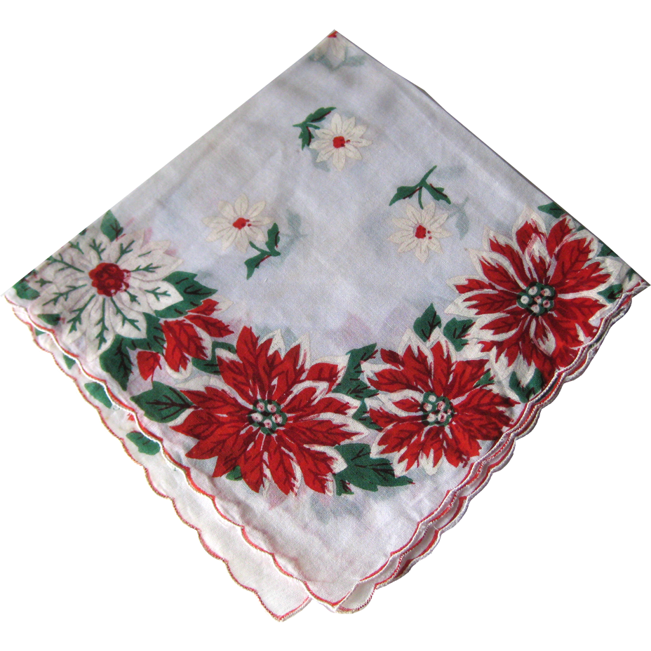 Handkerchief Png - Vintage Christmas Holiday Poinsettia Handkerchief / Hanky / Hankie / :  Openslate Collectibles | Ruby Lane