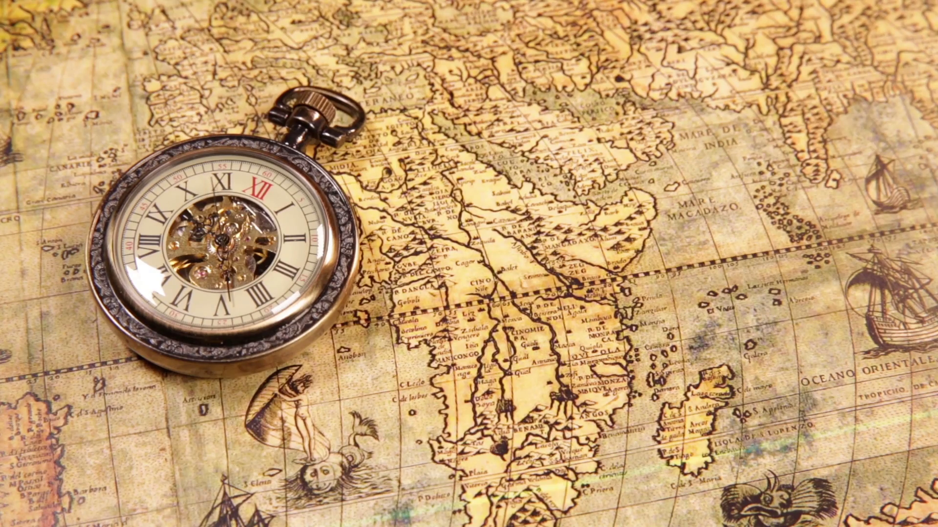 Vintage Map Png - Vintage clocks on the map. Old world map in 1565. Stock Video ...