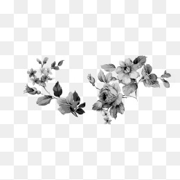 Vintage Flower Png Black And White - vintage floral design, Retro, Flower Pattern, Black And White PNG and PSD