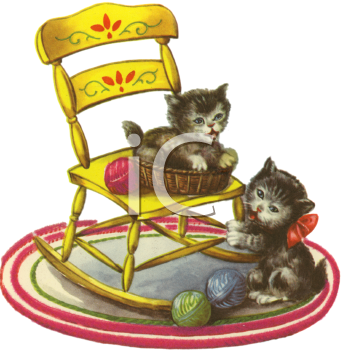 Kitten Playing With Yarn Png - Vintage kittens playing in. Yarn clipart kitten yarn black and white library