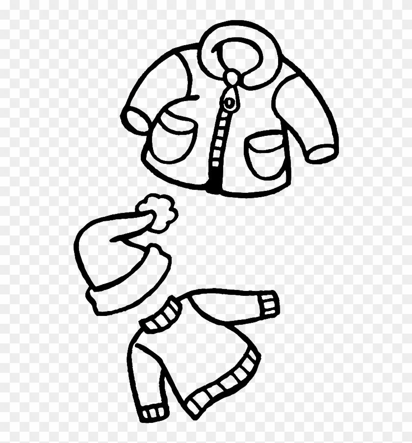 Kids Clothes Png Black And White - Warm Clothes Winter Coloring For Kids - Drawing Of Winter Clothes ...