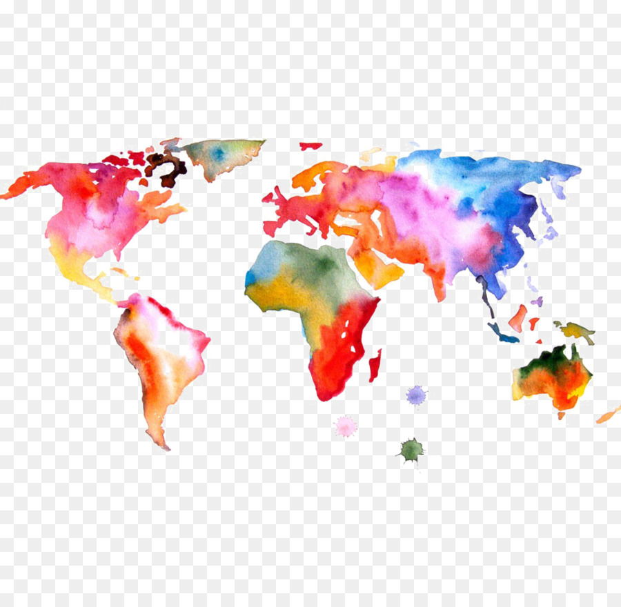 Watercolor World Map Png Free Watercolor World Map Png