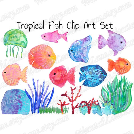 Tropical Fish Watercolor Png - Watercolor Clipart Tropical Fish Clip Art Marine clipart Coral | PNGio