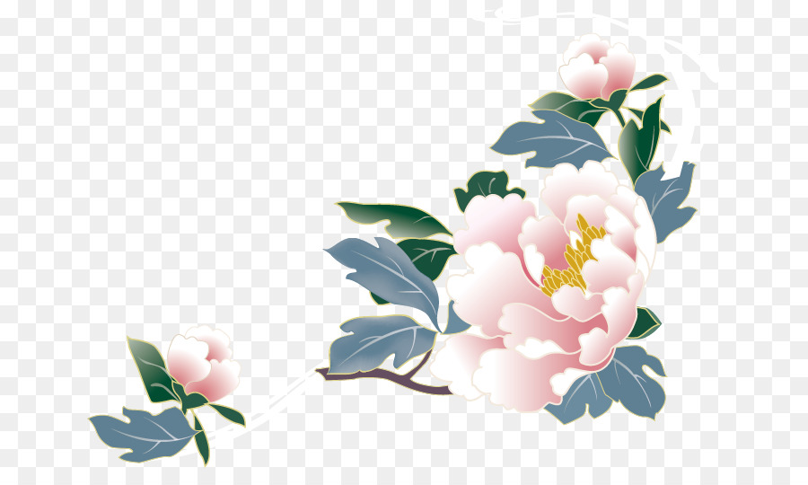 Peony Border Background Png - Watercolor Floral Background