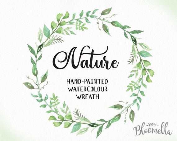 Leaf Wreath Clipart - Watercolour Leaf Wreath Clipart - Nature Hand Painted Leaves ...
