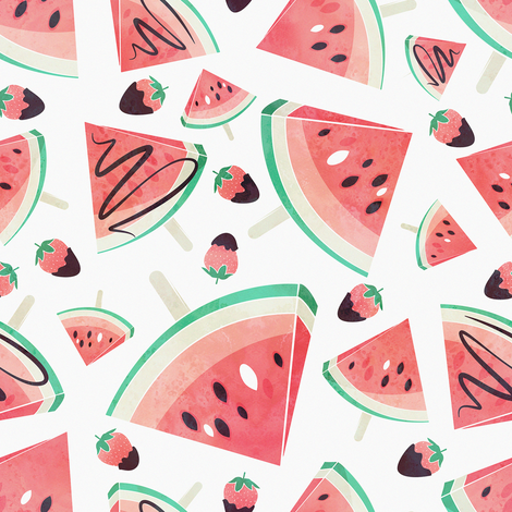Watermelon Png Background - Watermelon popsicles, strawberries & chocolate // white background  delicious coral red ice cream &