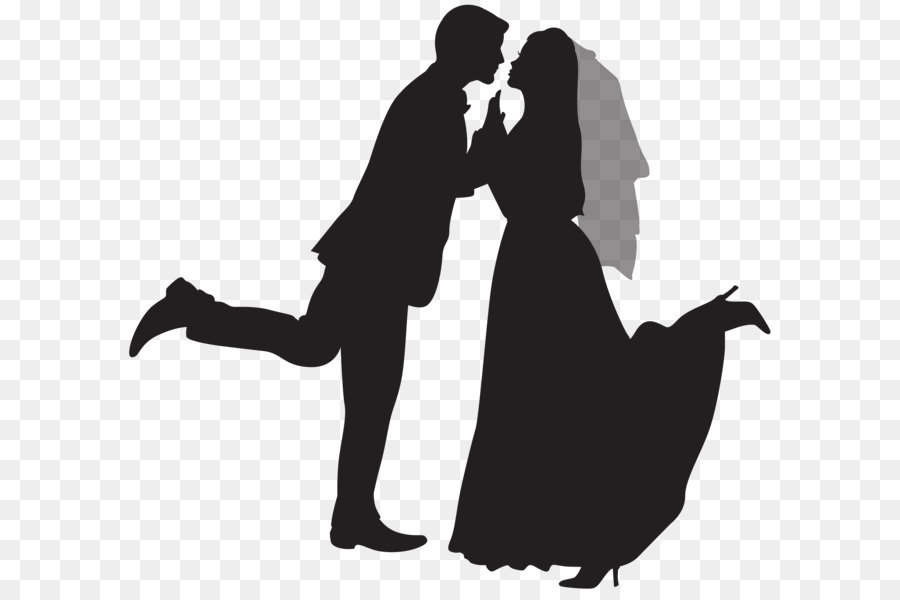 Png Wedding Black And White - Wedding invitation Marriage Clip art - Silhouette Wedding Couple PNG Clip  Art