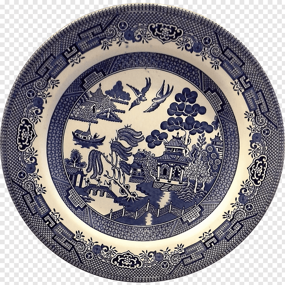 China Dishes Patterns Png - Willow pattern Tableware Plate Churchill China, Plate png | PNGBarn