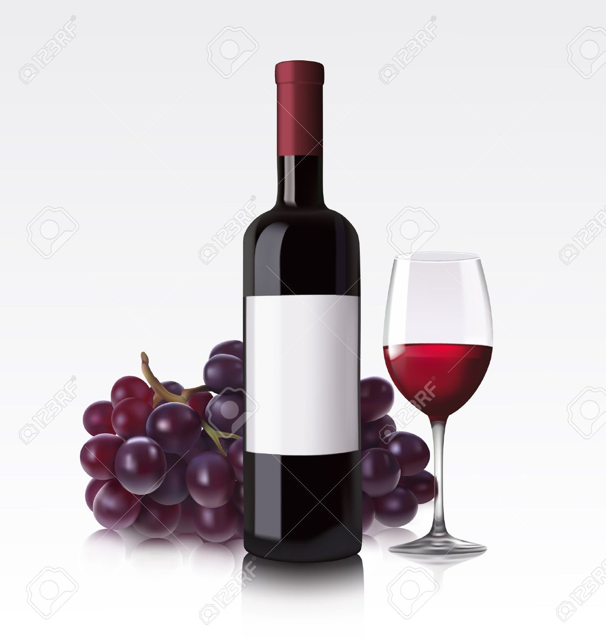 Wine Bottle And Grapes Png - Wine Bottle And Glass Clipart
