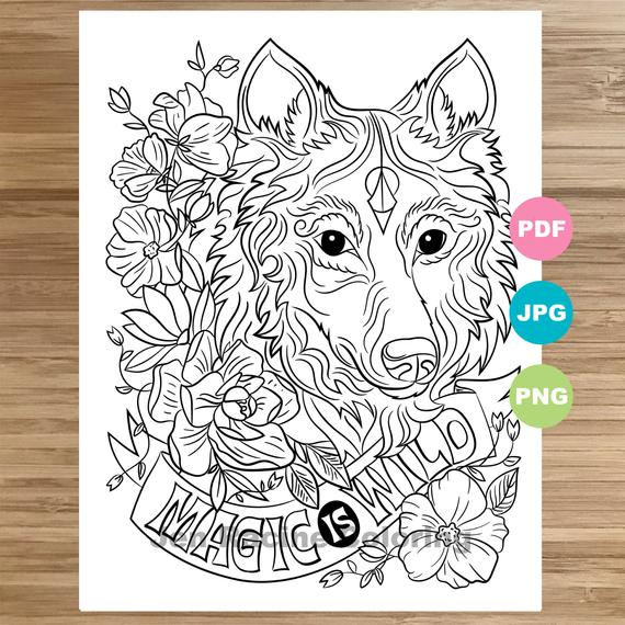 Wolf Coloring Pages For Adults Png - Wolf Coloring Page Magical animal Animal art Coloring page | PNGio