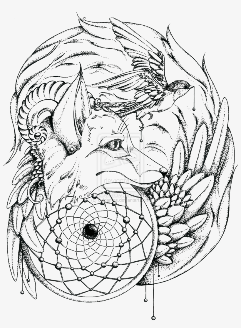 Wolf Coloring Pages For Adults Png - Wolf Head Bird Transparent - Adult Coloring Pages Native ...