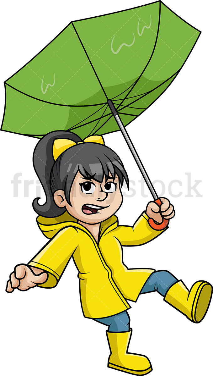 Little Girl Playing In Rain Png - Woman Caught In Storm Cartoon Clipart Vector - FriendlyStock