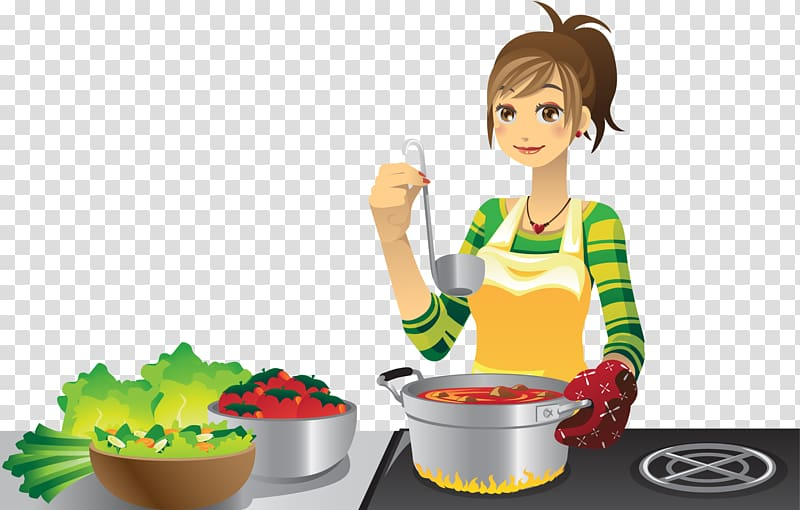 Woman Cooking Cartoon Cooking Illustra 1302718 Png Images Pngio