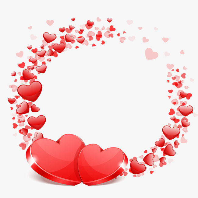 Heart Png - Wreath with red hearts, Wedding, Wreath, Red PNG and PSD