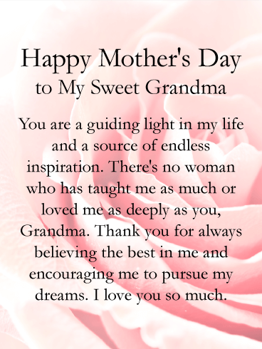 Grandmas Day Png Card - You are a Guiding Light - Happy Mother's Day Card for Grandmother ...
